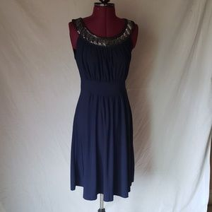 Navy blue Haani sequined collared dress size s